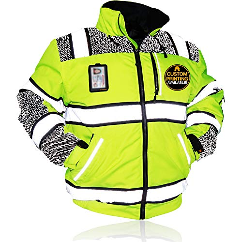 KwikSafety (Charlotte, NC) UNIVERSE Class 3 Safety Bomber Jacket High Visibility ANSI Compliant OSHA Detachable Chest iPocket Foldable Hoodie Thermal Lining Construction Work Wear | XXX-Large