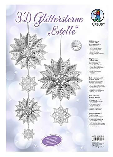 Ursus 33780000Glitter Estrella 3D Estelle, Material para 3Estrellas, Plata