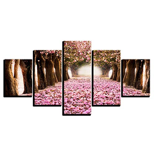 ZYBKOG 5 Leinwandbild Leinwandbilder Wohnkultur Hd Drucke 5 Stücke Kirschblüten Gemälde Rosa Blume Blütenblatt Baum Poster Wohnzimmer Wan