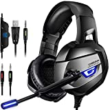 CIC ONIKUMA K5 Fone de Ouvido Headset Gamer Profissional Estéreo Cancelamento de Ruído Microfone LED para PS4, PC, XBox, Notebook