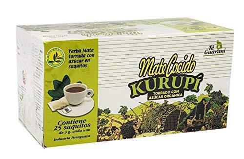 KURUPI Mate Cocido   Bolsas de té Yerba Mate Importadas de Paraguay. (Mate Cocido Sabor Torrado con Azúcar 25 bolsas) 75 Gramos