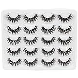 Dedila 10Pairs Natural 3D Eyelashes Handmade Dramatic Black Soft Fluffy Cross Eyelashes Makeup Volume Eye Lashes Extensions Reusable (E006)