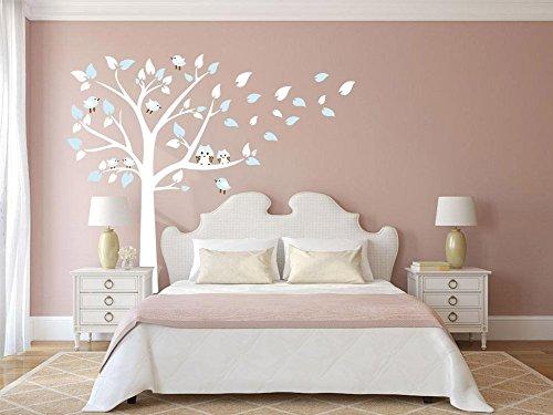 """Rocwart Baum-Wandaufkleber """"Familiy Blossom"""" für Wohnzimmer, Babyzimmer, Kinderzimmer. Ablösbares Wandtattoo, Vinyl. 221x 198,1cm, Pink + Weiß Blau/Weiß"""