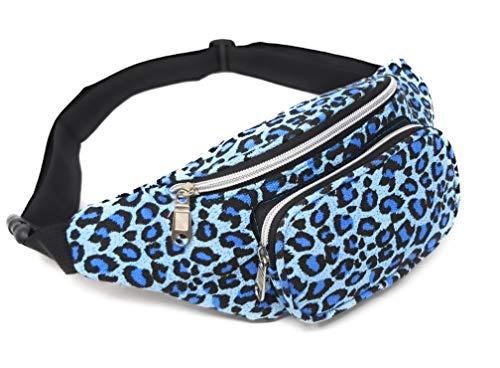 Riñonera Chica Mujer Tigre Leopardo 18cmx15cmx15cm (Blue Tiger)
