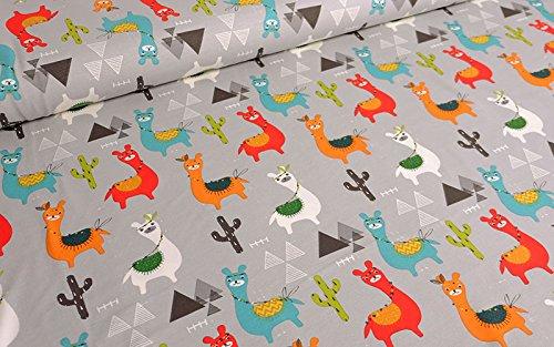 Qualitativ hochwertiger Jersey mit bunten Lamas auf Grau als Meterware zum Nähen von Kinder und Babykleidung, 50 cm