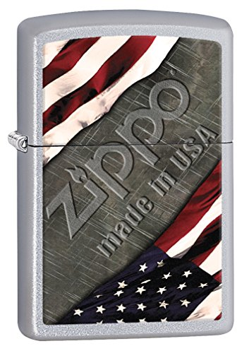 Zippo Lighter: American Flag and Metal  Satin Chrome 77001