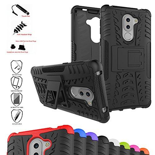 MAMA MOUTH Honor 6X Kick-Ständer Hülle, [Heavy Duty] Rugged Armor stoßfest Handy Schutzhülle Silikon Tasche Ständer Hülle Hülle mit Standfunktion für Huawei Honor 6X Smartphone,Schwarz