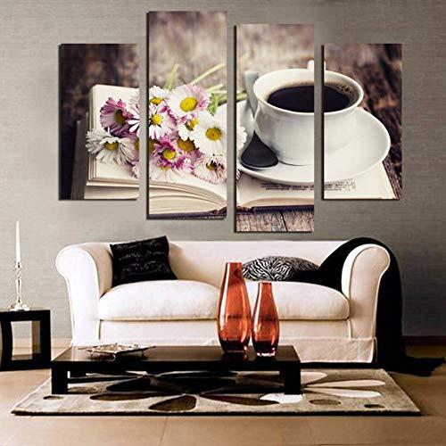 AJKCBAQ Modulair HD Gedrukt Canvas Poster Frame Koffie Bloemen En Boek Kunst Schilderen Huisdecoratie Woonkamer Muurfoto's