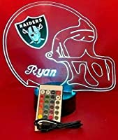 Oakland Raiders NFL Light Up LED Lamp Personalized Handmade Football Helmet Night Light with Free Personalization and Remote, 16 Color Options, and Variations!