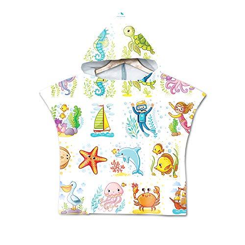 Handdoek met capuchon, badhanddoeken met capuchon voor kinderen, veranderende handdoekponcho met capuchon voor jongens en meisjes, maat 60 x 80 cm,D