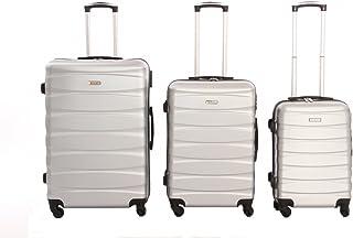 set da 3 pezzi valige trolly in ABS e policarbonato con 4 ruote girevoli 360° gradi colori vari (argento)