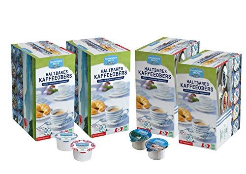 GMUNDNER MILCH Kaffeesahne-Spender | inkl. kostenlosem Salzkammergut Kochbuch | 3 Monate ungekühlt haltbar | Kaffeeobers mit Motiven aus Österreich | 4 x 50 Stück
