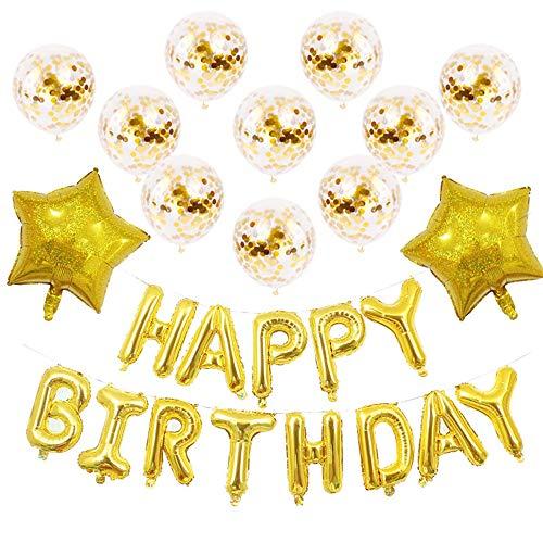Lezed Globos de látex Rellenos de Cumpleaños Decoración de cumpleaños Happy Birthday Globo Estrella Globos de Alfabeto de feliz Para Cumpleaños, Bodas, Baby, Addobbi per Feste di Compleanno (Dorado)
