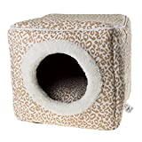 Cat Pet Bed Cave- Indoor Enclosed Covered Cavern/House for Cats Kittens and Small Pets with Removable Cushion Pad by PETMAKER, Tan/White Animal Print