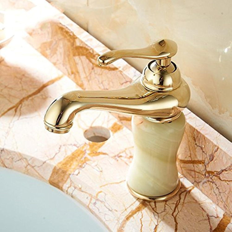 Bijjaladeva Wasserhahn Bad Wasserfall Mischbatterie WaschbeckenWaschtisch Armatur Classic Single Griff verGoldete Kupfer Waschbecken Alle natürlichen Jade Waschtischmischer