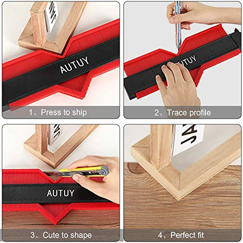 AUTUY 2 Pieces Contour Profile Gauge with Lock Contour Gauge with Lock 5-inch and 10-inch Copy Tool Measuring Ruler Irregular Shape Duplicator for Perfect Corner Fit and Easy Cutting Woodworking