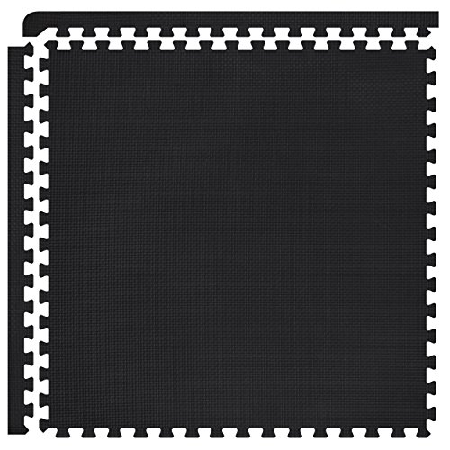 FIELDOOR トレーニング エクササイズ用ジョイントマット 【ブラック】 45×45×1.0cm 8枚セット 防音 キズ防止