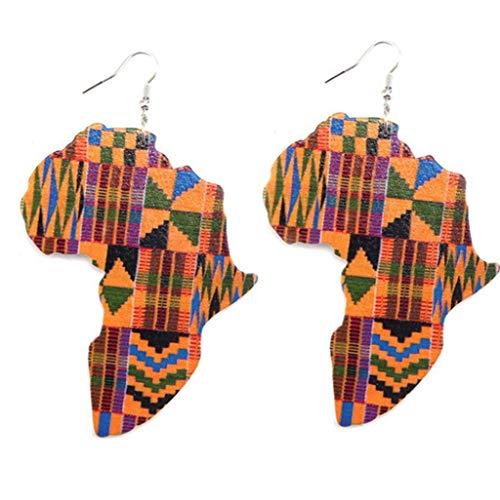 Lankater 1 Par De Madera Joyería Pendientes Mapa De África Pendientes Étnicos Estilo Pendiente Colgante para Muchachas De Mujeres