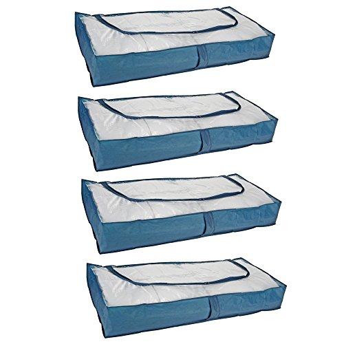 4 Stück Unterbettkommode Unterbett Kommode Aubewahrung mit Reißverschluss