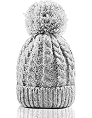Women's Winter Beanie with Warm Lining - Thick Slouchy Cable Knit Skull Hat Pom Pom Ski Cap in 5 Colors (Gray)
