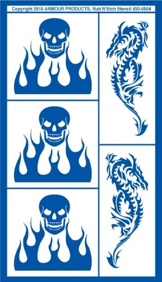 Armour Etch Stencil Rub N Etch Stencil, Skulls with Flames, 5-Inch by 8-Inch