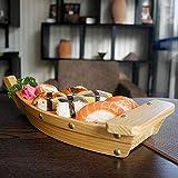 cuckoo-x barca sushi vassoio da portata in legno piastra per ristorante, Wooden, small