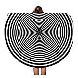Semtomn 60 Inches Round Beach Towel Blanket Black Hypnotic Spiral White Psychedelic Swirl Abstract Archimedes Audio Travel Circle Circular Towels Mat Tapestry Beach Throw