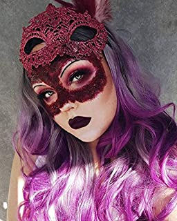 FESHFEN Ombre Long Wave Purple Cosplay Wig Dark Roots Three Tones Fiber Synthetic Black Grey Purple Natural Middle Part Heat Resistant Replacement Wigs for Women