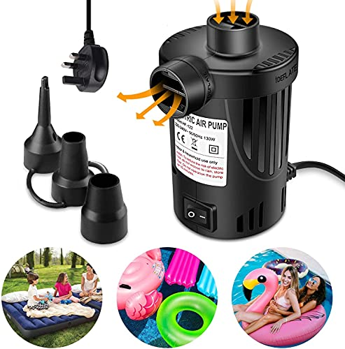 HYFAM Electric Air Pump, AC 240V/130W High Power Portable Air Pump Inflator/Deflator with 3 Nozzles for Airbeds, Swimming Ring, Mattress Boats