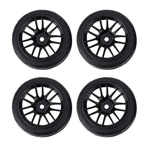 Atyhao 4 piezas de goma RC neumáticos de carreras para coche en llanta de rueda de carretera, compatible con HSP HPI 1/10