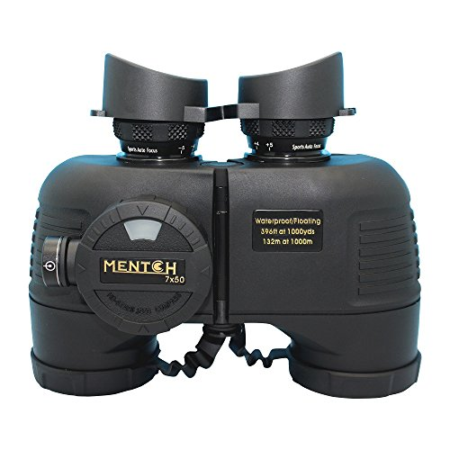 Mentch 7x50 HD Waterproof Military Marine Binoculars w/Internal Rangefinder & Compass for Water Sports,Hunting,Bird Watching,Boating and More(Black)