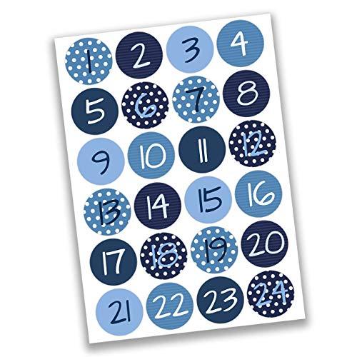 Papierdrachen 24 Adventskalender Zahlen Aufkleber - Blaue Zahlen Nr 02 - Sticker 4 cm - zum Basteln und Dekorieren