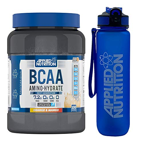 Applied Nutrition Bundle BCAA Amino Hydrate Powder 1.4kg + Lifestyle Water Bottle 1000ml | Branched Chain Amino Acids Supplement, Electrolytes, B Vits, Intra Workout & Recovery Drink (Orange & Mango)