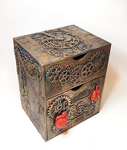 Exklusive Steampunk Kommode Aufbewahrung Schubladenelement Schubladenbox, 4 Schubladen,Organizer, Schränkchen,Ablagefläche Büro Wohnzimmer Steampunk