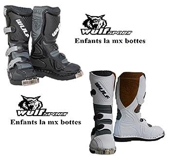 Bottes Moto Enfants Wulf LA Junior MX Quad Sport Bottes pitbike de Course (EU 37, Noir)