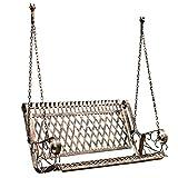 Balançoire en métal de porche de banc de jardin extérieur, chaise de balançoire lourde de hamac d'oscillation avec la chaîne suspendue, chaise longue de banc de terrasse suspendue rétro 2 places