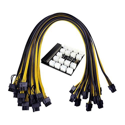 Ctzrzyt Placa de Ruptura del MóDulo de AlimentacióN de 12 V 64 Pines + 12 Piezas 50 Cm 6 Pines a 8 Pines Cable de AlimentacióN para 1200W 750W PSU Miner GPU Mining Eth
