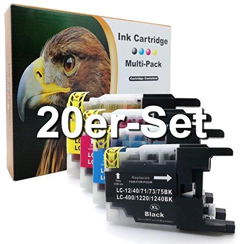 Cartuchos de impresoras para Brother DCP J525W MFC J430W, J5910DW, J625DW, J6510W, J6710DW, J6910DW sustituye LC1220LC1240LC12/40/71/73/75, color 20er Set (B/C/M/Y)