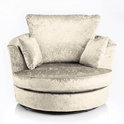 Sofas and More Large Swivel Round Cuddle Chair Fabric Crushed Velvet Designer Scatter Cushions (Cream)