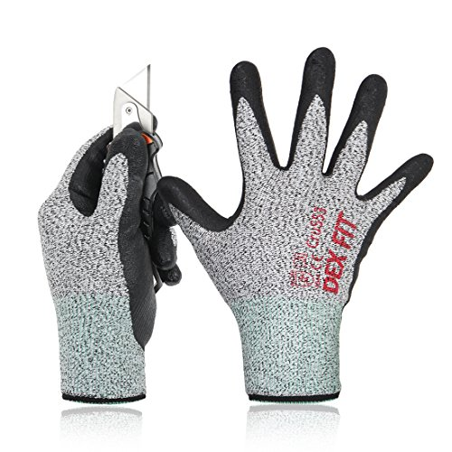 DEX FIT Level 5 Cut Resistant Gloves Cru553, 3D Comfort Stretch Fit, Power Grip Foam Nitrile, Smart Touch, Durable Thin & Lightweight, Machine Washable, Grey Medium 1 Pair