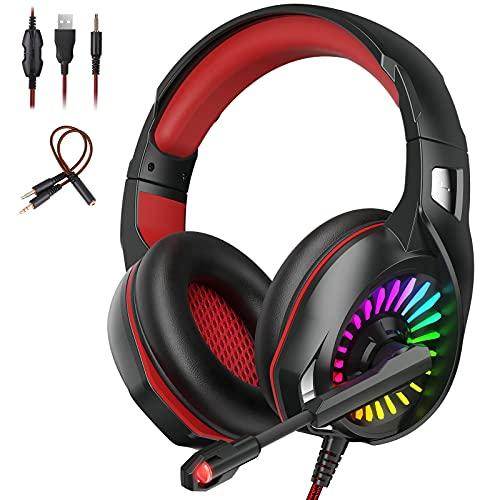 Auriculares para Videojuegos Cascos Gaming Profesional Audio Estéreo con Micrófono para PC, PS4, Switch, Xbox, Smartphone, Claridad de Sonido