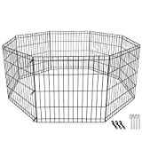 24-inch Dog Pen Exercise Pen Indoor & Outdoor Pet Fence Metal Foldable Playpen for Small Dogs Kittens Rabbits, 8 Panels