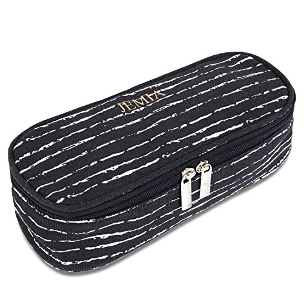 JEMIA - Black White Canvas Pencil Case with Dual Zip Compartment to Hold Office Cosmetic Makeup Supply Accessories in Organized for Kid, Teen Student, Boy, Girl or Adult for Men, Women