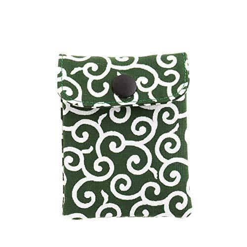携帯灰皿 おしゃれ かわいい 和風 唐草 グリーン 小柄 匠の技 河島彰子作 インナーリフィル合計2個付属 日本製