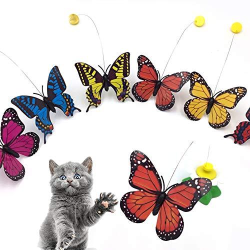 beautijiam Lustiges Schmetterlings-Spielzeug für Katzen, Haustiere, lustig, rotierend, elektrisch, Fliegender Schmetterling, interaktives Katzenspielzeug, zufällige Farbe