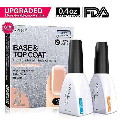 Base Coat No Wipe Top Coat Set ?2x12ml?for UV LED Gel Nail Polish LED Nail Lamp 0.4 Ounce Big Capacity by AZUREBEAUTY