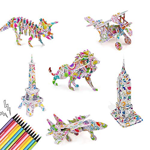 Baoweihua 3D Colour Puzzle Set, Art Colouring Painting for Kids Aged 5-12,Christmas and Birthday Gift for Girls and Boys(Set of 6)