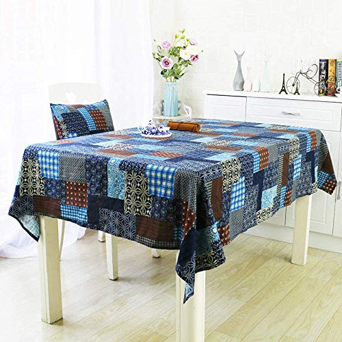 Tablecloths Home Decoration Tablecloth Christmas Decoration cotton and linen table cloth square lattice mosaic coffee table cloth tablecloth decoration cloth blue 140 * 240cm wipe clean tablecloth