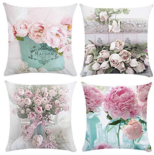 XIECCX Throw Pillow Covers Decorative Pillowcases 4 Pack - Soft Linen Cotton Design Cushion Cover for Sofa,Bedroom,Chair,Car Seat,Farmhouse 18 x 18(Brilliant Flowers)