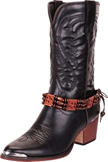 Cambridge Select Women's Tipped Pointed Toe Embroidered Stitched Beaded Block Heel Western Cowboy Boot